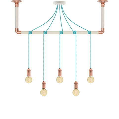 Wrap Chandelier - Turquoise, White and Copper