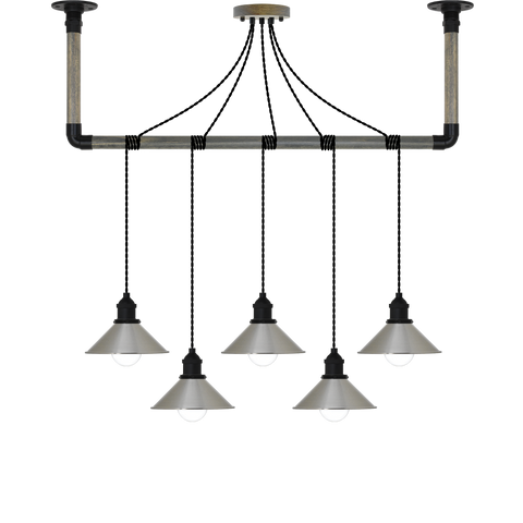 Wrap Chandelier - Black and Nickel Shade
