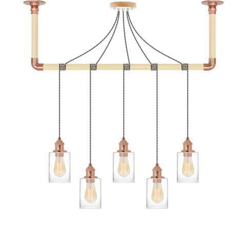 Wrap Chandelier - Grey, Copper and Glass Shade