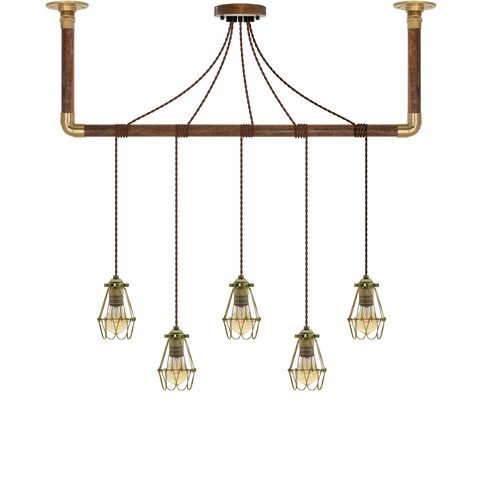 Wrap Chandelier - Brown and Brass Cage