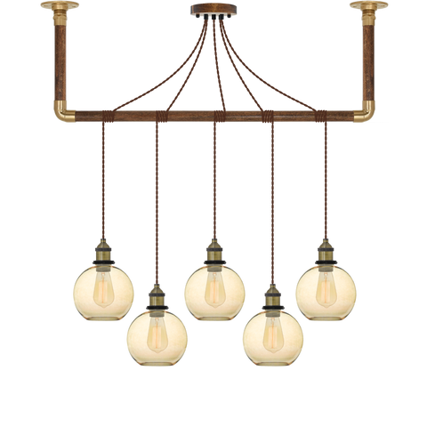 Wrap Chandelier - Brown, Brass and Amber Glass Shade