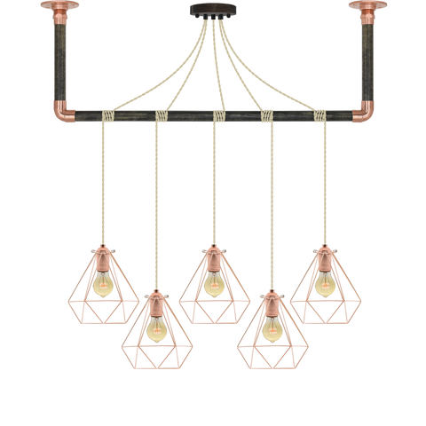 Wrap Chandelier - Beige and Copper Cage