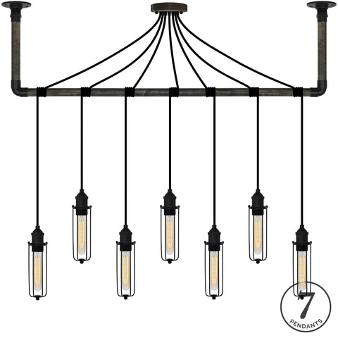 Wrap Chandelier - Black Tube Cage