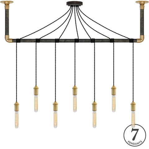Wrap Chandelier - Black and Brass