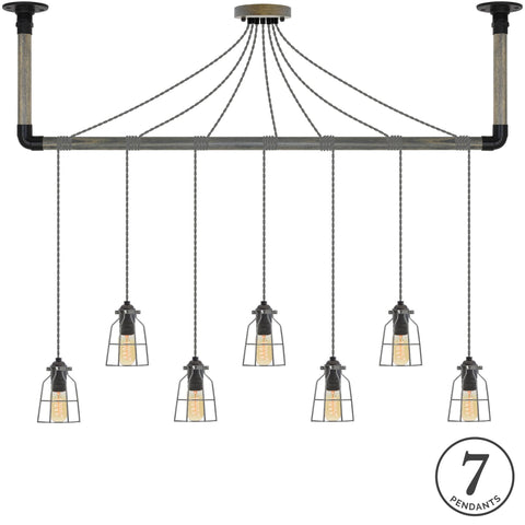 Wrap Chandelier - Grey, Black and Steel Cage