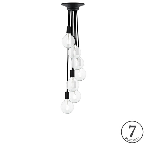 Pendant Cluster - Black and LED Clear Bulbs