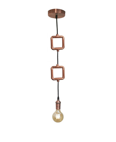 Geometric Squares Copper Pipe Single Pendant Light