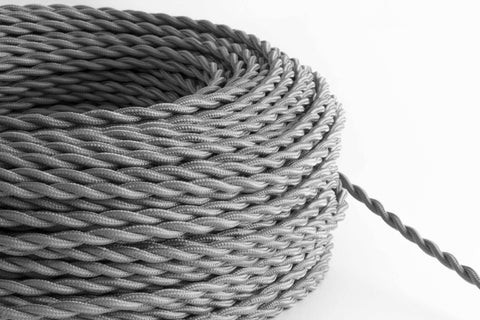 Grey Twisted Fabric Cord by the Foot