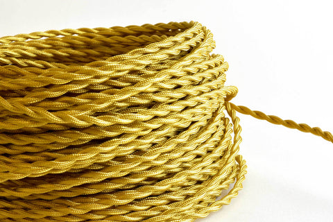 Gold Twisted Fabric Cord by the Foot