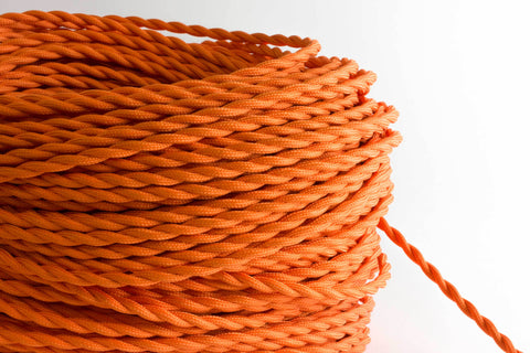 Orange Twisted Fabric Cord by the Foot