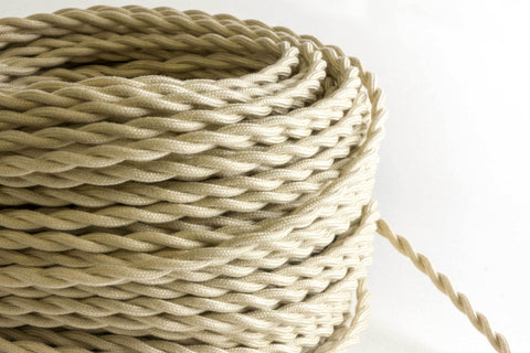 Beige Twisted Fabric Cord by the Foot