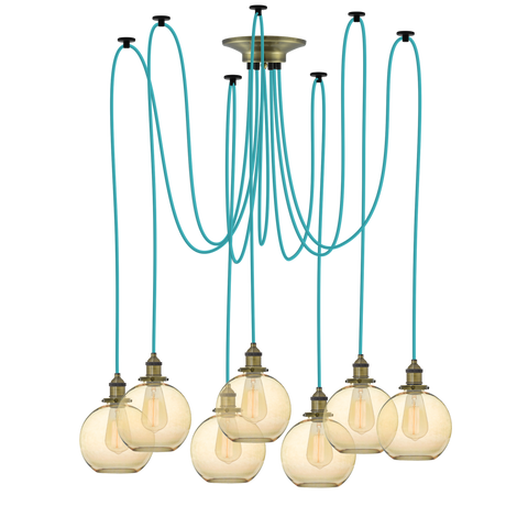 Swag - Turquoise with Antique Globe Shades