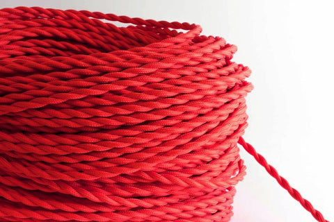 Red Twisted Fabric Cord by the Foot