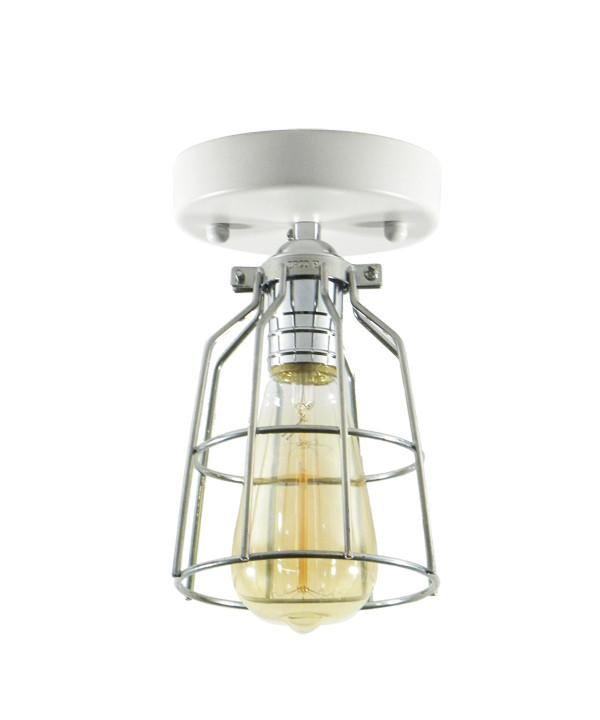 White chrome industrial cage flush mount light fixture hangout white chrome and steel cage flush mount ceiling light mozeypictures Image collections