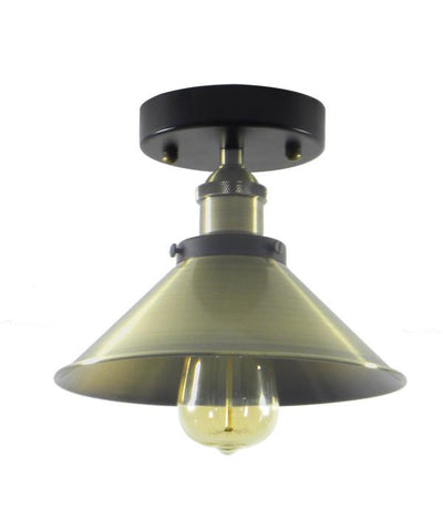 Antique Brass Flush Mount Shade Light