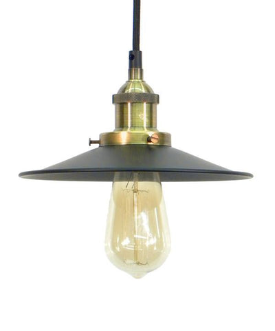 Antique Brass Black Flat Shade Pendant Light