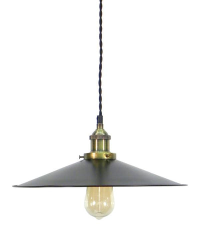 Antique Brass Black Large Flat Shade Pendant Light