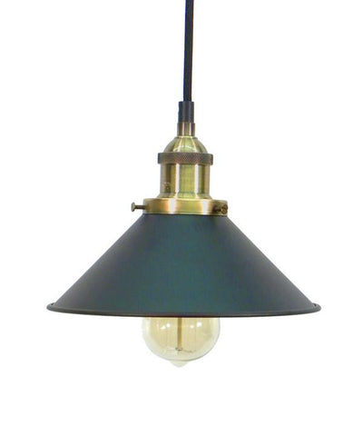 Antique Brass Black Shade Pendant Light