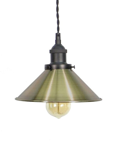 Black Antique Brass Shade Pendant Light