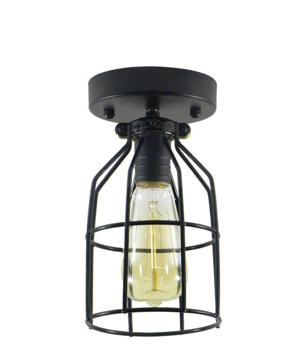 industrial black round cage flush mount light fixture