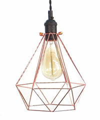 Black Copper Diamond Cage Pendant Light