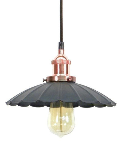 Copper Ruffle Shade Pendant Light