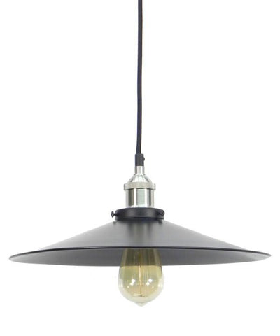 Nickel Black Large Flat Shade Pendant Light