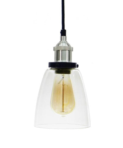 Black Nickel Glass Bell Shade Pendant Light