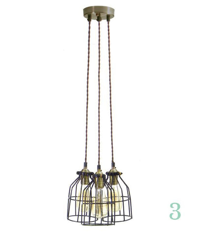 Pendant Light Cluster - Even - Black Cages - Brown Twisted Antique Brass - 3