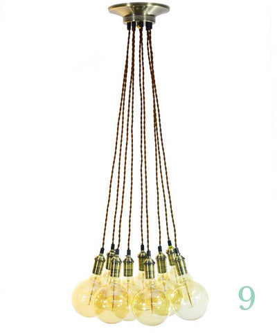 Pendant Light Cluster - Even - Brown Twisted Antique Brass - 9