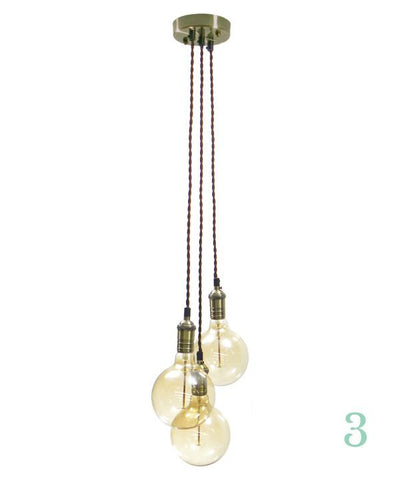 Pendant Light Cluster - Grape - Brown Twisted Antique Brass - 3