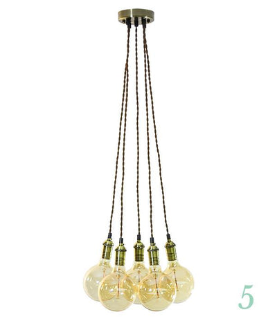Pendant Light Cluster - Even - Brown Twisted Antique Brass - 5