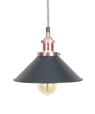 Chevron/Copper/Black Shade Pendant Light