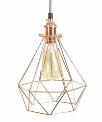 Grey Copper Diamond Cage Pendant Light
