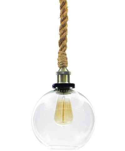 Antique Brass Glass Globe Shade Rope Pendant Light