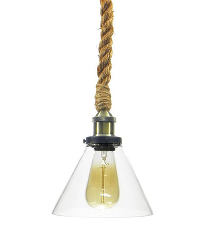 Antique Brass Glass Shade Rope Pendant Light