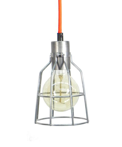 Orange Steel Cage Pendant Light