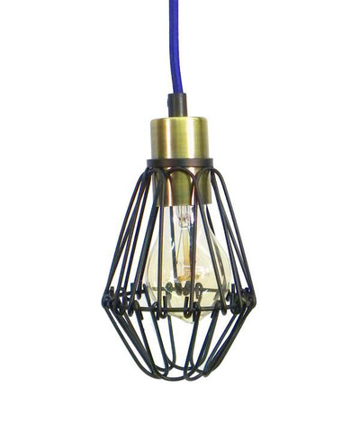 Purple Antique Black Cage Pendant Light