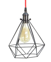 Red Graphite Diamond Cage Pendant Light