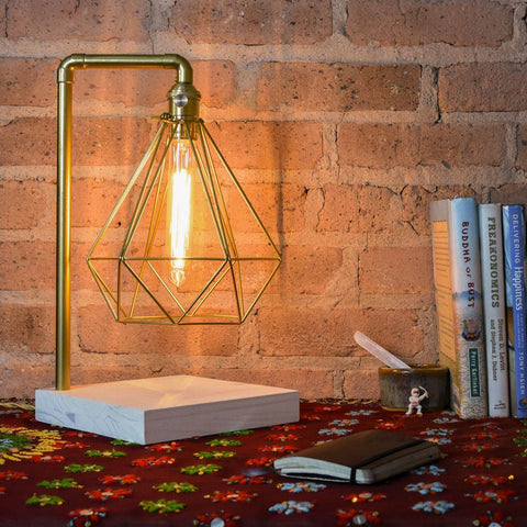 Brass Pipe Table Lamp White Wood Base Geometric Diamond Cage Edison Desk Lamp