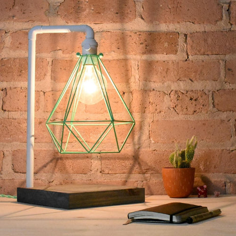 White Mint Table Lamp White Pipe Wood Base Mint Geometric Diamond Cage