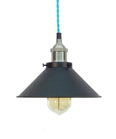 Turquoise/Nickel/Black Shade Pendant Light