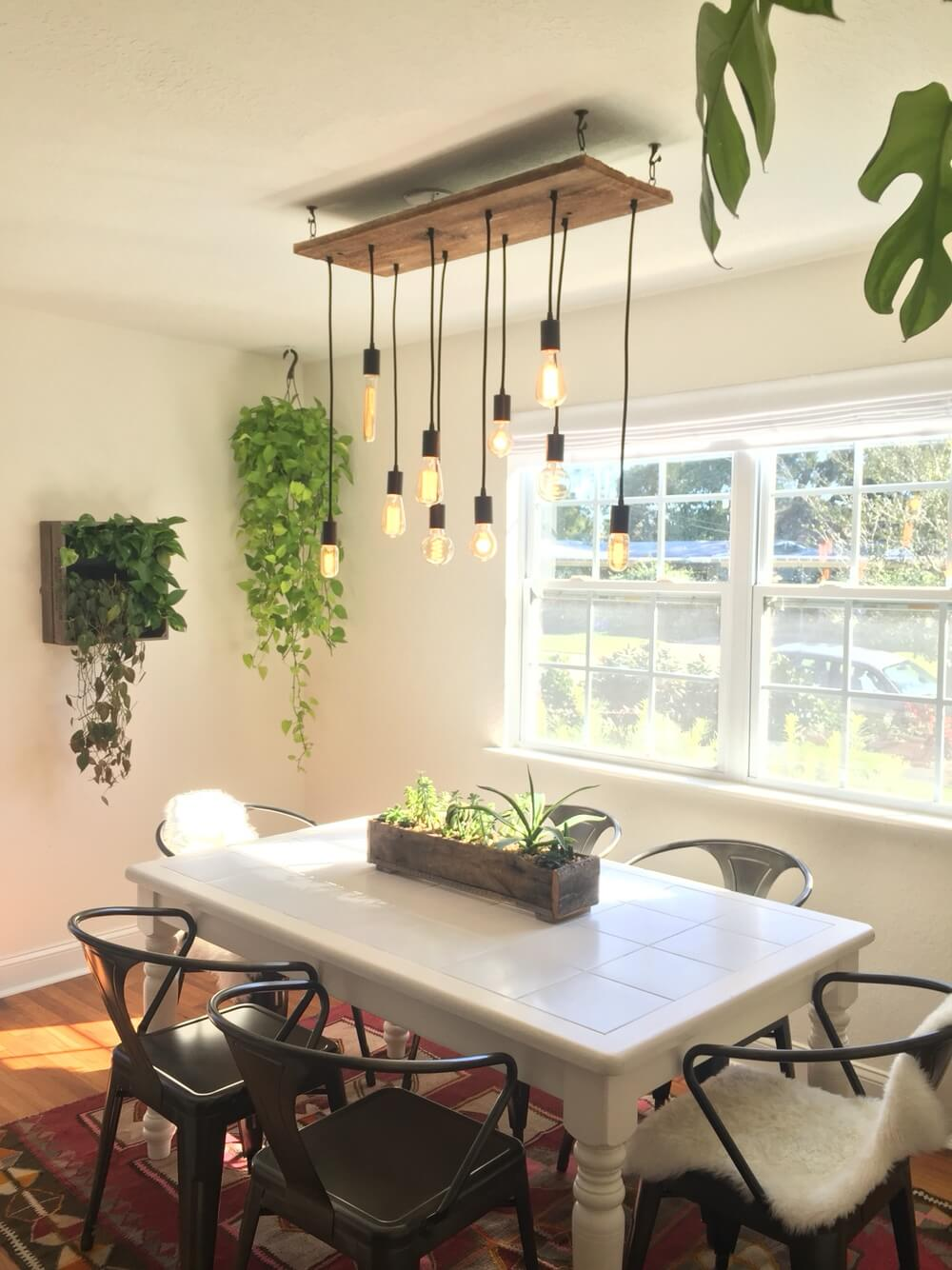 Reclaimed Wood Chandelier with plants