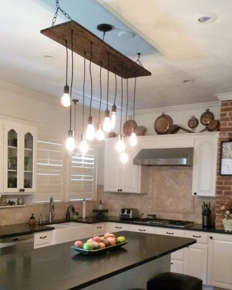 Rustic Ceiling Light Kitchen Installation