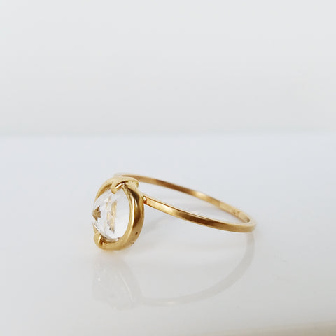 14K Gold White Topaz Ring 2