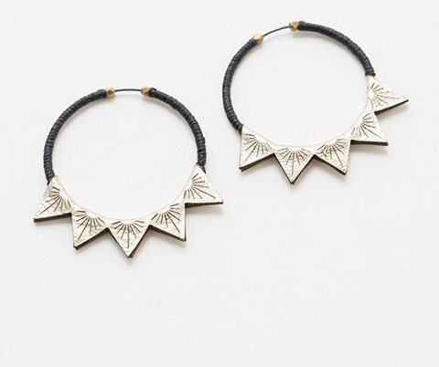 Platinum leather Triangle 2 hoops