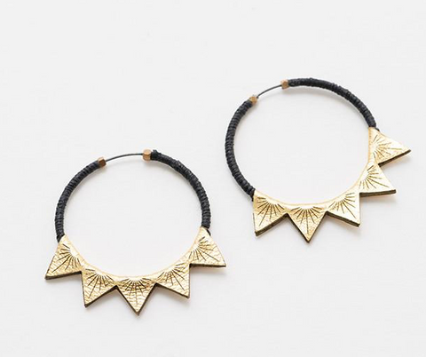 Gold leather Triangle 2 hoops