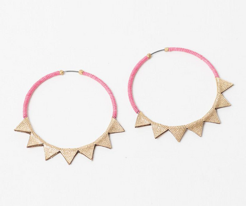 Gold leather Pink Triangle 2 hoops