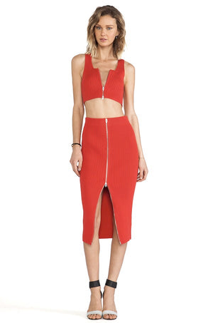 T by Alexander Wang Red Zip top and skirt