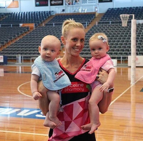 Renae Ingles with 8-month old twins